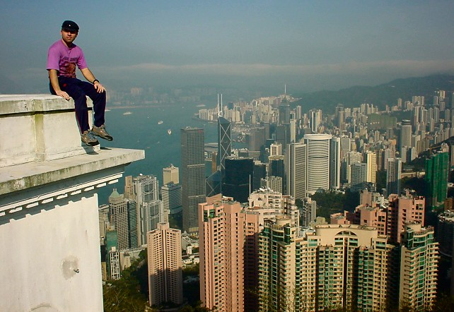 "Round the World in 24 Days : View over the Hong Kong Skyline from the district known as ""The Peak"""
